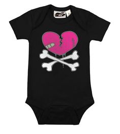 Heartbreaker black onesie from My Baby Rocks www.punkbabyclothes.net goth and punk baby clothes