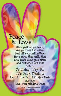Peace love and party time invitations for 70's themed party
