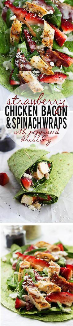 Strawberry chicken bacon & spinach wraps via Creme de la Crumb