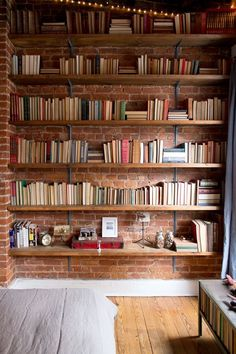 Books in front of bricks.