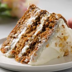 This Carrot Cake recipe is moist, tender & easy to make! It's seriously the best carrot cake recipe covered in cream cheese frosting for a perfect cake. Delicious Desserts, Dessert Recipes, Yummy Food, Cupcake Recipes, Carrot Recipes, Sweet Recipes, Best Carrot Cake, Ultimate Carrot Cake Recipe, Carrot And Walnut Cake