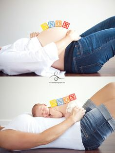 I would like to hire you for a newborn session, so we should do something like the blocks and then a post baby photo like this set up