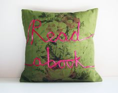 Book lover cushion word pillow read a book pink ribbon lettering embroidery olive green vintage fabric typography memake handmade home decor via Etsy