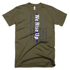 aea133de3 Men s Distressed Thin Blue Line American Flage Rise Up Short Sleeve T-shirt