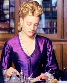 """Daniel Deronda - Romola Garai as Gwen Harleth.   Harleth's costumes in this mini-series (directed by Oscar-winning director Tom Hooper) are just texturally and visually perfect.   Once she marries (unhappily), and her fortunes are at their peak, all of her gowns are dark and have this """"sheen"""" that reflects her conflicted despair.   She wants to embrace rebellion, but can't give up the material things for which she's sacrificed her ideals."""