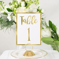 Gold Foil Table Numbers Handmade Wedding Style 0102