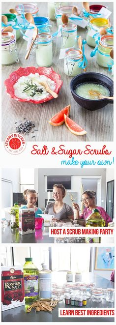 How to make your own Salt Scrubs and Sugar Scrubs! Learn salt vs sugar, the best base oil, where to get cute jars and spoons. ~ http://steamykitchen.com