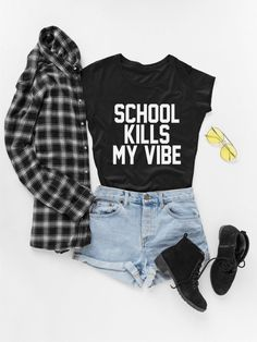 Teen Fashion Gift, School T-shirt, Kills my Vibe Tshirt, Back to School Shirt, Funny Clothes T. Winter Outfits For Teen Girls, Cute Outfits For School, Funny Outfits, Cute Casual Outfits, Outfits For Teens, Funny Clothes, Cool Clothes, Work Outfits, Clothes Sale
