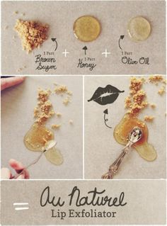 Homemade All Natural Lip Exfoliator - Are dry cracked lips your nemesis? Make this healing balm by simple adding 1 part brown sugar, 1 part honey and 1 part olive oil.