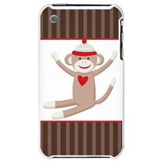 Sock Monkey Brown Stripe iPhone case