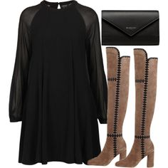 A fashion look from September 2016 featuring Topshop dresses, Sigerson Morrison boots and Balenciaga wallets. Browse and shop related looks.