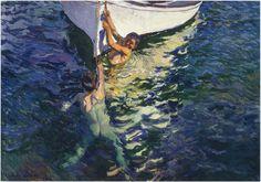 joaquín Sorolla - niños disfrutando junto a la barca