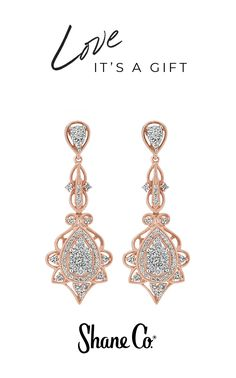 """Stunning antique style set in our signature shade of rose gold: perfect for Valentine's Day or any day. With 116 hand-matched round diamonds (approximately .94 total carat weight), these vintage-style, 1/2"""" earrings combine sparkling clusters and stunning pave-set stones in distinctive 14k rose gold."""