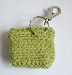 Materials: * Worsted weight acrylic yarn * crochet hook * inch button * Swivel clasp with split ring * stitch markers (I us. Diy Crochet Coin Purse, Crochet Hooks, Free Crochet, Crochet Bags, Small Coin Purse, Coin Bag, Tote Purse, Stitch Markers, Key Rings