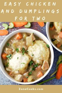 Easy Chicken and Dumplings Recipe for Two is super easy made in one pot full of flavor and quite comforting. Boneless chicken is simmered in one pan with celery peas carrots and onion with savory seasonings and topped with fluffy biscuit type dumpli Easy Chicken Recipes, Soup Recipes, Baking Recipes, Dinner Recipes, Chicken Treats, Casserole Recipes, Easy Recipes, Dinner Ideas, Recipies