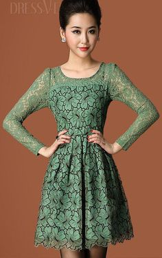 Long Sleeve Mesh Dress, Green Lace Dresses, Head To Toe, Hair Makeup, Beige, Floral, Clothes, Beauty, Shopping