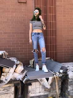 e4ee35f376ccc Fila Outfit, Fila Disruptors, Athletic Fashion, Athletic Shoes, Ripped Jeans,  Hipster
