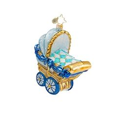 Radko Bouncing Baby Buggy Boy Baby Ornament 2014