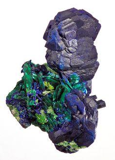 Azurite with Malachite ps. after Azurite - Tsumeb Mine, Tsumeb, Namibia, SW Africa  mw
