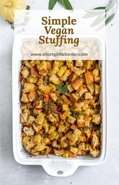 This Simple Vegan stuffing is moist, flavorful, & perfect as a Thanksgiving side dish! This recipe i Vegan Stuffing, Homemade Stuffing, Vegan Thanksgiving Dinner, Stuffing Recipes For Thanksgiving, Thanksgiving Side Dishes, Christmas Recipes, Vegan Christmas, Thanksgiving 2020