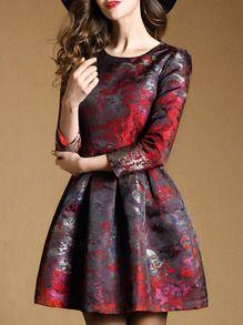 Multicolor Round Neck Long Sleeve Print Pockets Dress