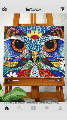 Owl Mosaic, Mosaic Birds, Mosaic Diy, Mosaic Crafts, Mosaic Projects, Art Projects, Dot Art Painting, Mandala Painting, Mandala Art