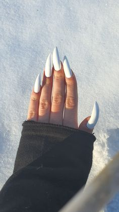 #white #whitenails #stilettonails #snowwhite Nail Decorations, Stiletto Nails, White Nails, Engagement Rings, Jewelry, White Nail Beds, Enagement Rings, Wedding Rings, Jewlery