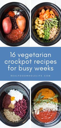 A collection of 16+ easy, healthy vegetarian slow cooker recipes! The recipes are simple to prepare, and perfect low-effort weeknight wins. Gluten free & dairy free so everyone can enjoy them! Vegetarian Crockpot Recipes, Healthy Slow Cooker, Vegetarian Soup, Healthy Cooking, Slow Cooker Recipes, Vegetarian Dinners, Slow Cooking, Healthy Eating, Healthy Recipes