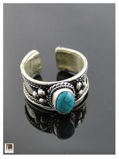 Véritable Turquoise montée sur un anneau en Argent Tibétain - Cadeaux d'Asie