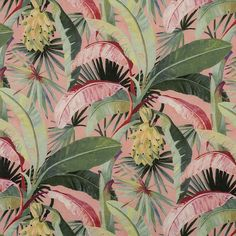 Catherine Martin by Mokum La Palma* Coral Tropical Curtains, Tropical Fabric, Tropical Prints, Tropical Wallpaper, Dawn And Dusk, Tree Wallpaper, Watercolor Wallpaper, Embossed Paper, Paint Designs