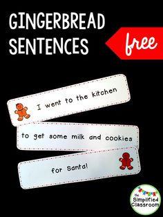 Gingerbread Sentences for literacy centers this winter! A fun way for kindergarten and first grade kids to work on reading this holiday season! Comprehension Activities, Reading Strategies, Reading Activities, Classroom Activities, Reading Lessons, Christmas Worksheets, Christmas Activities, Kids Christmas, Christmas Crafts