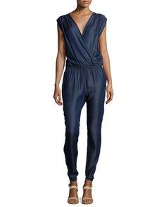 Surplice-Neck Sleeveless Jumpsuit, Denim by Fraiche by J at Neiman Marcus Last Call.