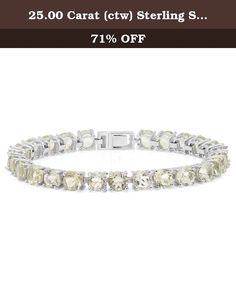 25.00 Carat (ctw) Sterling Silver Real Round Cut Genuine Green Amethyst Ladies Tennis Bracelet 1/4 CT. This lovely designer inspired bracelet is made of sterling silver featuring 25.00 ct. Green Amethyst in prong setting. All Amethyst are sparkling and 100% natural. All our products with FREE gift box and 100% Satisfaction guarantee. SKU # RT079.