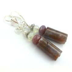 Kolczyki z kamieniami naturalnymi turmalinem z bronzytem.
