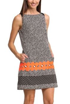 Natalia sleeveless dress designed for Desigual by Mr Lacroix. This unique pinafore dress is inspired by op-art optical illusions. Don't miss out on the range by Lacroix from the Why