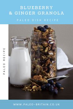 Blueberry & Ginger Granola  #Paleo #food #recipe #keto #diet #Blueberry&GingerGranola