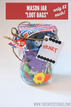 """A great budget-friendly kids gift idea: mason jar """"loot bags"""". Perfect for birthday parties! - via the sweetest digs"""