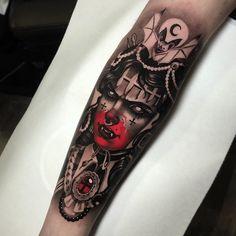 By Cristian Casas Arm Sleeve Tattoos For Women, Wolf Tattoo Sleeve, Tribal Sleeve Tattoos, Leg Tattoos, Body Art Tattoos, Witch Tattoo, Demon Tattoo, Samurai Tattoo, Headdress Tattoo