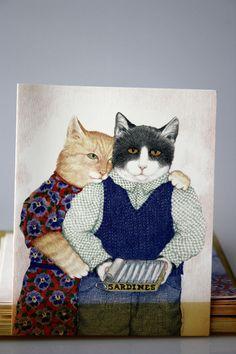"vintage 1989- Paris Bottman, Bottman Designs, Inc. postcard ""Tin for two"". Anthropomorphic cat couple sharing a sardines tin can."