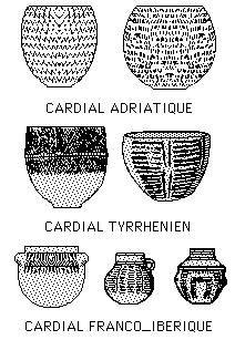 """Présentation des différentes """" tribus """" à céramiques impresso-cardiales en Méditerranée :  -Zone Franco-Ibérique :  1 : Furninha ( Portu..."""