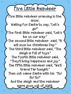FIVE LITTLE REINDEER POEM FREEBIE - TeachersPayTeachers.com