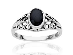Kabana brings antique charm into the modern era with the addition of a glossy, jet-black onyx center stone. This ring showcases a beautiful sterling silver setting embellished with meticulously crafted filagree and oval-cut onyx. Ring face measures 1/4 by 5/16 inches.Ring is a size 7.