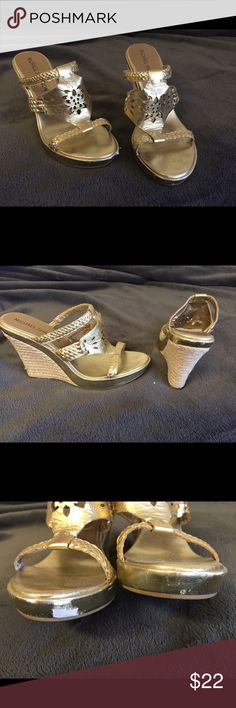 Gold Wedges Gold metallic wedges with detailing- great with jeans or a dress! Shoes Wedges
