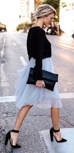 #fall #outfits women's white and black long-sleeved dress