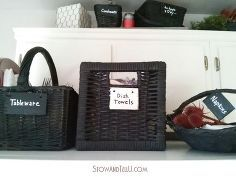 painting mix matched baskets with chalkboard paint, chalkboard paint, crafts, organizing, repurposing upcycling
