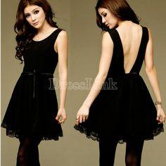 New sexy fashion ladies cocktail party backless sleeveless slim mini dress black  #fashion #skyesboutique