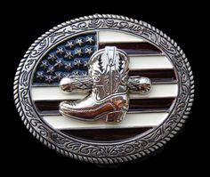 American USA Flag Old Glory Western Rodeo Cowboy Boots Metal Casual Belt Buckles #CoolBuckles #western #cowboy #cowgirl #cowboyboots #westernclothing #USA #Unitedstatesflag