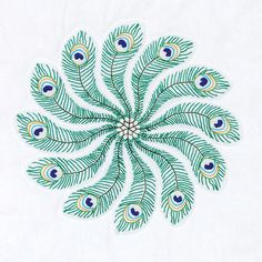 """Stamped White Quilt Blocks 18""""""""X18"""""""" 6/Pkg-Peacock Feathers"""