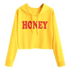 Drawstring Cropped Honey Hoodie (309.865 IDR) ❤ liked on Polyvore featuring tops, hoodies, shirts, yellow crop top, hooded sweatshirt, hooded pullover, hoodie crop top and cropped hoodie