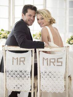 DIY: mr & mrs wedding chair covers #Crochet #FreePattern